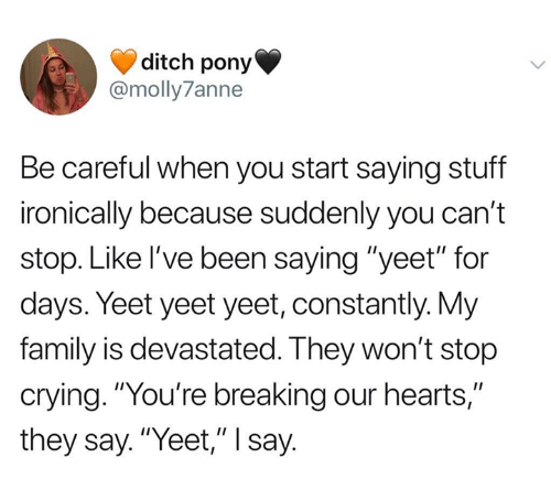 """Crying, Family, and Hearts: ditch pony  @molly7anne  Be careful when you start saying stuff  ironically because suddenly you can't  stop. Like I've been saying """"yeet"""" for  days. Yeet yeet yeet, constantly. My  family is devastated. They won't stop  crying. """"You're breaking our hearts,""""  they say. """"Yeet,"""" I say"""