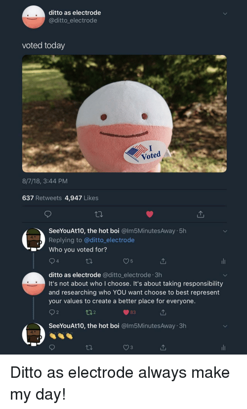 Best, Today, and Responsibility: ditto as electrode  @ditto_electrode  voted today  Voted  8/7/18, 3:44 PM  637 Retweets 4,947 Likes  SeeYouAt10, the hot boi @lm5MinutesAway 5h  Replying to @ditto_electrode  Who you voted for?  4  5  ditto as electrode @ditto_electrode 3h  it's not about who I choose. It's about taking responsibility  and researching who YOU want choose to best represent  your values to create a better place for everyone.  2  t02  83  SeeYouAt10, the hot boi @lm5MinutesAway 3h Ditto as electrode always make my day!