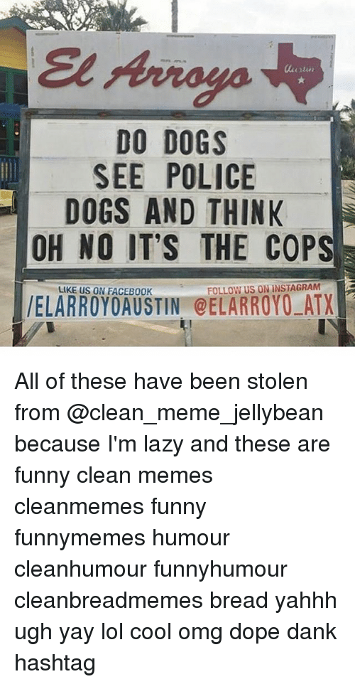 Clean Memes: DO DOGS  SEE POLICE  DOGS AND THINK  OH NO IT'S THE COPS  LIKE US ON FACEB00K  FOLLOW US ON INSTAGRAM All of these have been stolen from @clean_meme_jellybean because I'm lazy and these are funny clean memes cleanmemes funny funnymemes humour cleanhumour funnyhumour cleanbreadmemes bread yahhh ugh yay lol cool omg dope dank hashtag