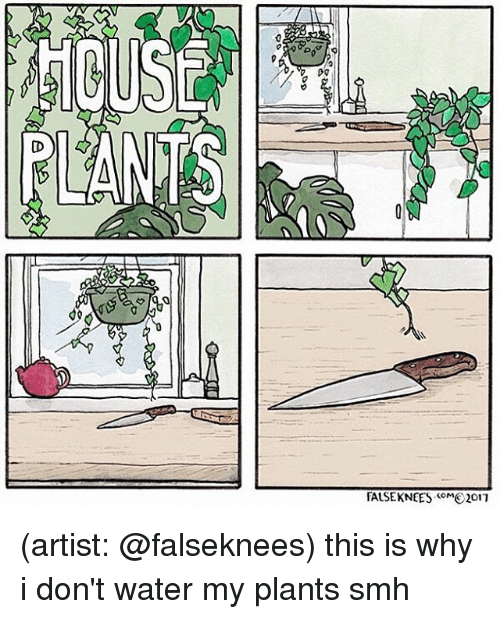 Memes, Smh, and Water: Do  FALSEKNEES M2017  COM (artist: @falseknees) this is why i don't water my plants smh