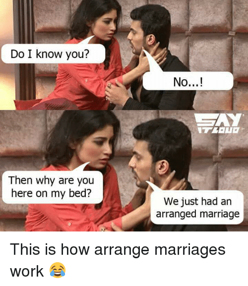 Do I Know You: Do I know you?  Then why are you  here on my bed?  No...!  We just had an  arranged marriage This is how arrange marriages work 😂