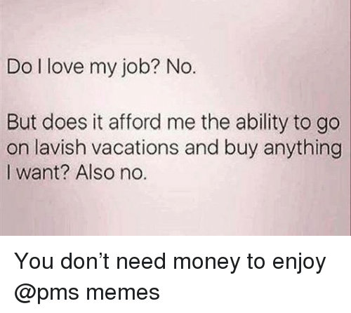 i love my job: Do I love my job? No.  But does it afford me the ability to go  on lavish vacations and buy anything  I want? Also no. You don't need money to enjoy @pms memes