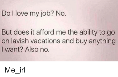 Love My Job: Do I love my job? No.  But does it afford me the ability to go  on lavish vacations and buy anything  I want? Also no. Me_irl