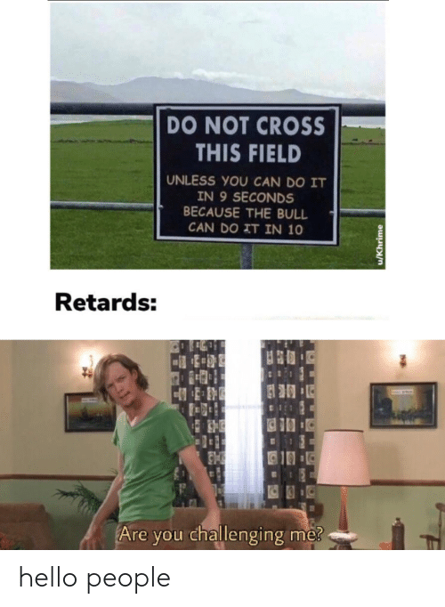 retards: DO NOT CROSS  THIS FIELD  UNLESS YOU CAN DO IT  IN 9 SECONDS  BECAUSE THE BULL  CAN DO IT IN 10  Retards:  Are you challenging me?  u/Khrime hello people