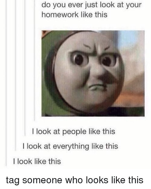 Tag Someone Who Looks Like This: do you ever just look at your  homework like this  I look at people like this  I look at everything like this  I look like this tag someone who looks like this