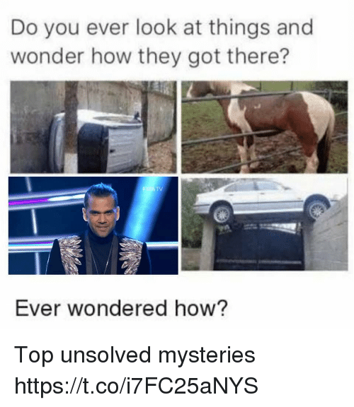 Wonder, How, and Got: Do you ever look at things and  wonder how they got there?  Ever wondered how? Top unsolved mysteries https://t.co/i7FC25aNYS