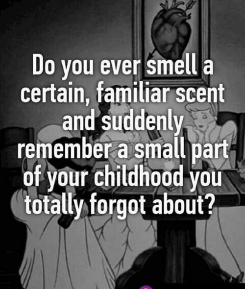Memes, Smell, and 🤖: Do you ever smell a  certain, familiar scent  and suddenly  remember a small part  of your childhood you  totallyforgot about?