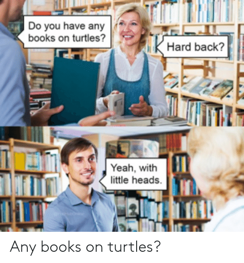 heads: Do you have any  books on turtles?  Hard back?  Yeah, with  little heads. Any books on turtles?