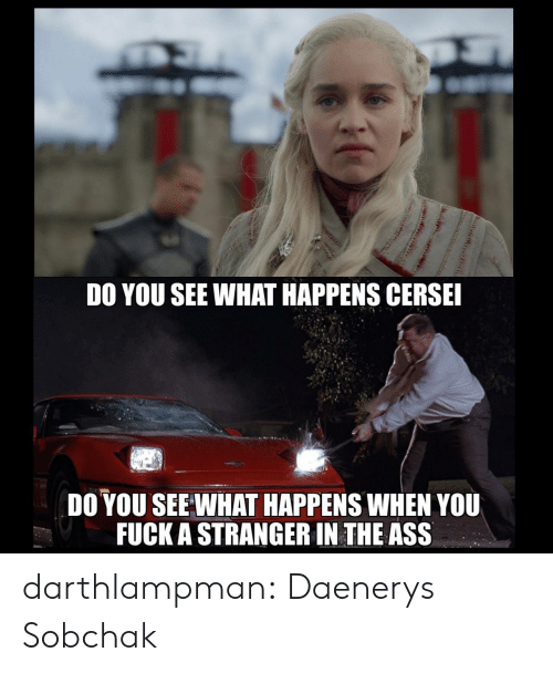 Ass, Tumblr, and Blog: DO YOU SEE WHAT HAPPENS CERSE  DO YOU SEE WHAT HAPPENS WHEN YOU  FUCK A STRANGER IN THE ASS darthlampman:  Daenerys Sobchak