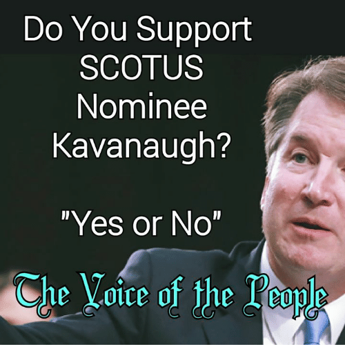 """Memes, Voice, and 🤖: Do You Support  SCOTUS  Nominee  Kavanaugh?  """"Yes or No""""  Che Voice of the Touls  ihe乂01ce of the l.eople"""