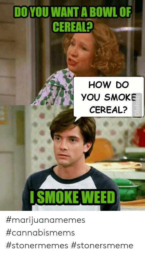 Smoke Weed: DO YOU WANT A BOWL OF  CEREAL?  HOW DO  YOU SMOKE  CEREAL?  SMOKE WEED #marijuanamemes #cannabismems #stonermemes #stonersmeme