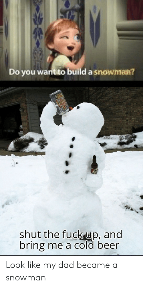 Beer, Dad, and Reddit: Do you want to build a snowman?  shut the fuck up, and  bring me a cold beer Look like my dad became a snowman