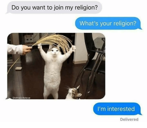 Religion, You, and Whats: Do you want to join my religion?  What's your religion?  2  Shitheadsteve  I'm interested  Delivered