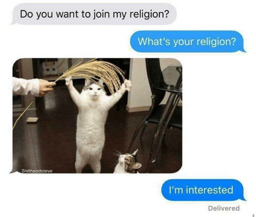 Memes, Religion, and 🤖: Do you want to join my religion?  What's your religion?  Shitheadsteve  I'm interested  Delivered