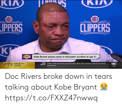 broke: Doc Rivers broke down in tears talking about Kobe Bryant 😭 https://t.co/FXXZ47nwwq