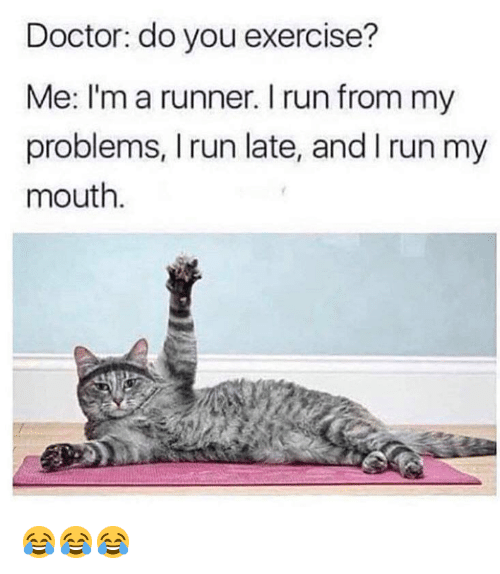 Doctor, Run, and Grumpy Cat: Doctor: do you exercise?  Me: I'm a runner. I run from my  problems, I run late, and I run my  mouth 😂😂😂