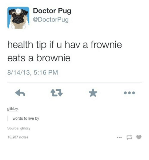 Pugly: Doctor Pug  @Doctor Pug  health tip if u hav a frownie  eats a brownie  8/14/13, 5:16 PM  glih  words to live by  Source: glihtzy  16,287 notes