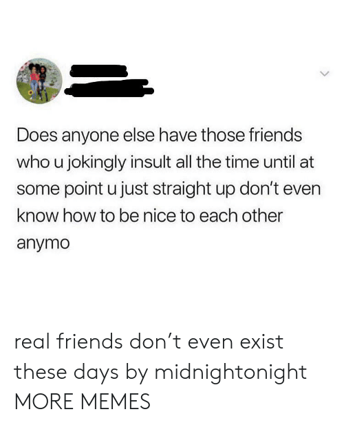 Dank, Friends, and Memes: Does anyone else have those friends  who u jokingly insult all the time until at  some point u just straight up don't even  know how to be nice to each other  anymo real friends don't even exist these days by midnightonight MORE MEMES