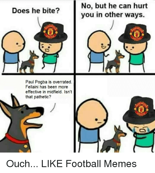 Football Meme: Does he bite?  Paul Pogba is overrated  Fellaini has been more  effective in midfield. Isn't  that pathetic?  No, but he can hurt  you in other ways. Ouch...  LIKE Football Memes