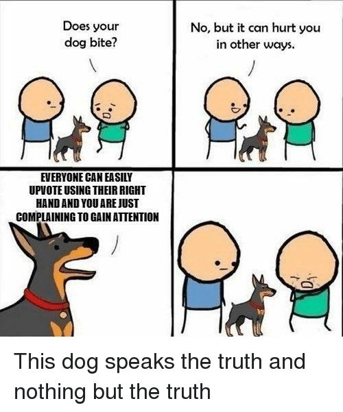 Dog Bite: Does your  dog bite?  No, but it can hurt you  in other ways  EVERYONE CAN EASILY  UPVOTE USING THEIR RIGHT  HAND AND YOU AREJUST  COMPLAINING TO GAIN ATTENTION This dog speaks the truth and nothing but the truth