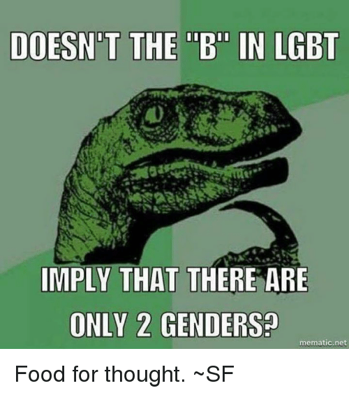 """Only 2 Genders: DOESN'T THE """"B"""" IN LGBT  IMPLY THAT THERE ARE  ONLY 2 GENDERS  mematic.net Food for thought. ~SF"""