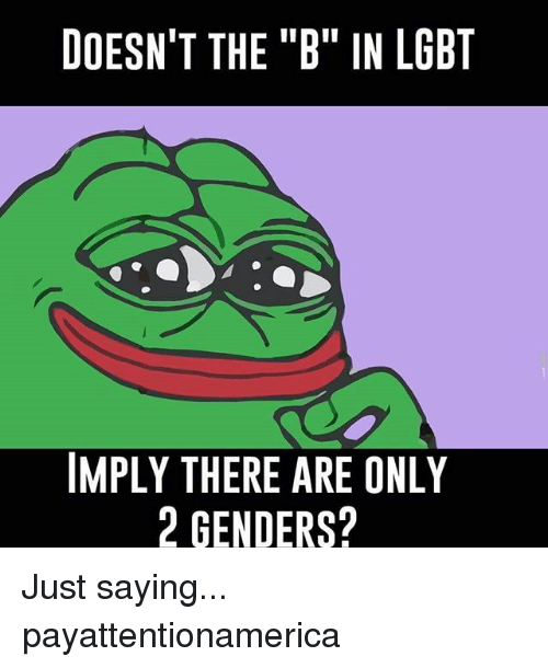 """There Are Only 2 Genders: DOESN'T THE """"B"""" IN LGBT  IMPLY THERE ARE ONLY  2 GENDERS? Just saying... payattentionamerica"""