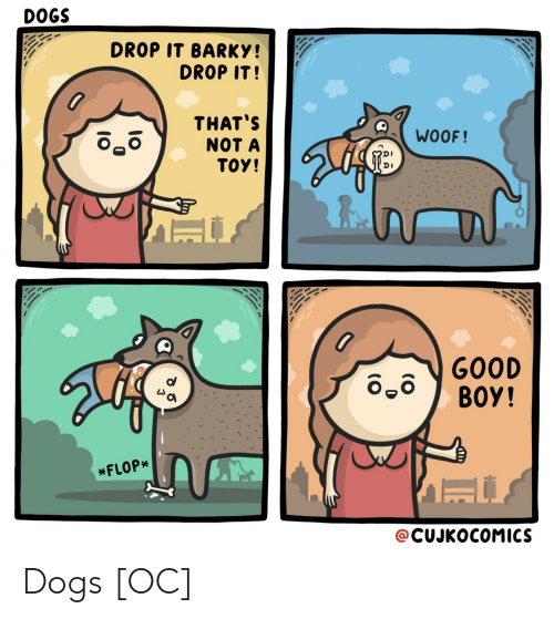 Dogs, Good, and Toy: DOGS  DROP IT BARKY!  DROP IT!  THAT'S  NOT A  TOY  WOOF!  DI  DI  GOOD  ol  OB0Y  *FLOP*  @CUJKOCOMICS Dogs [OC]
