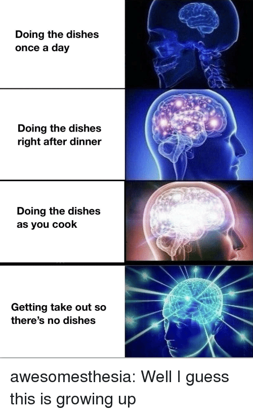 Growing Up, Tumblr, and Blog: Doing the dishes  once a day  Doing the dishes  right after dinner  Doing the dishes  as you cook  Getting take out so  there's no disheS awesomesthesia:  Well I guess this is growing up