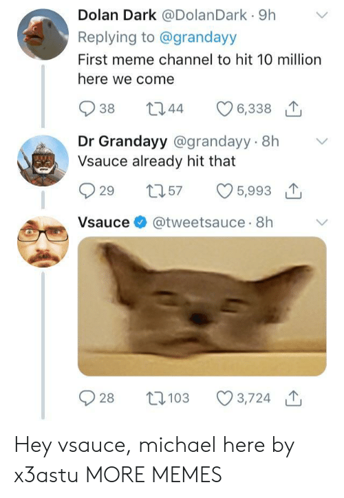 Dolan: Dolan Dark @DolanDark 9h  Replying to @grandayy  First meme channel to hit 10 million  here we come  938 344  Dr Grandayy @grandayy 8h V  Vsauce already hit that  929 t57 5,993 T  Vsauce @tweetsauce 8h  2103 3,724 Hey vsauce, michael here by x3astu MORE MEMES