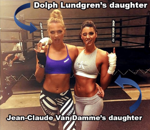Ken, Dolph, and Daughter: Dolph Lundgren's daughter  Co Ken  Jean-Claude Van Damme's daughter  CLUT H BODY