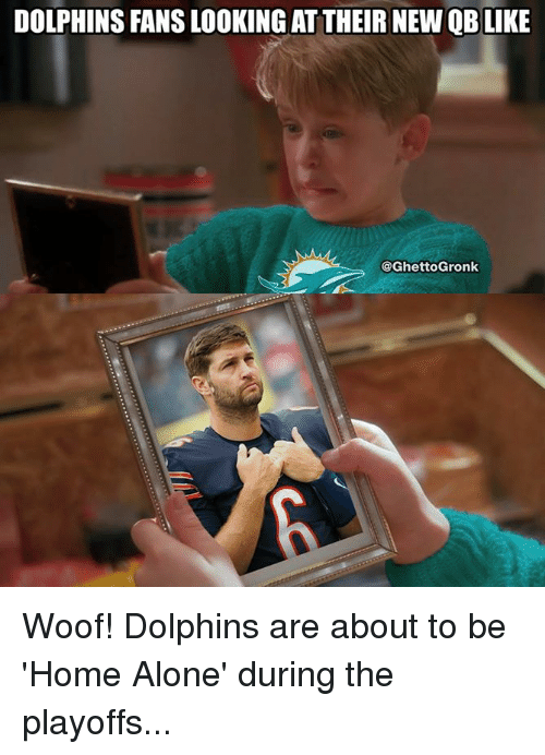 Being Alone, Home Alone, and Nfl: DOLPHINS FANS LOOKING AT THEIR NEW QB LIKE  @GhettoGronk Woof! Dolphins are about to be 'Home Alone' during the playoffs...