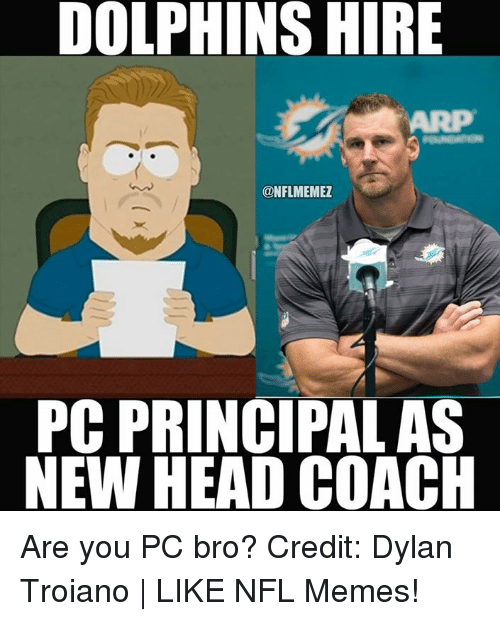 Head, Memes, and Nfl: DOLPHINS HIRE  ONFLMEMEZ  PC PRINCIPAL AS  NEW HEAD COACH Are you PC bro? Credit: Dylan Troiano   LIKE NFL Memes!