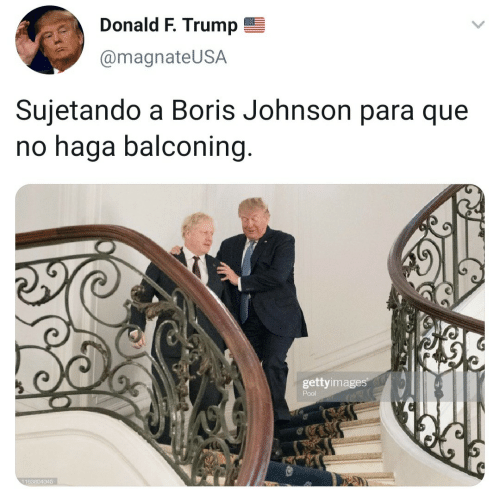 Pool, Trump, and Boris Johnson: Donald F. Trump  @magnateUSA  Sujetando a Boris Johnson para que  no haga balconing.  gettyimages  Pool  1163804045