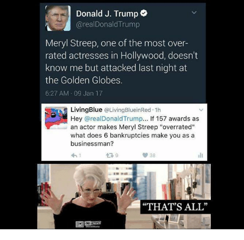 """Golden Globes: Donald J. Trump  arealDonald Trump  Meryl Streep, one of the most over-  rated actresses in Hollywood, doesn't  know me but attacked last night at  the Golden Globes.  6:27 AM 09 Jan 17  Living Blue  @Living BlueinRed 1h  Hey areal Donald Trump  If 157 awards as  an actor makes Meryl Streep """"overrated""""  what does 6 bankruptcies make you as a  businessman?  38  """"THAT'S ALL"""""""