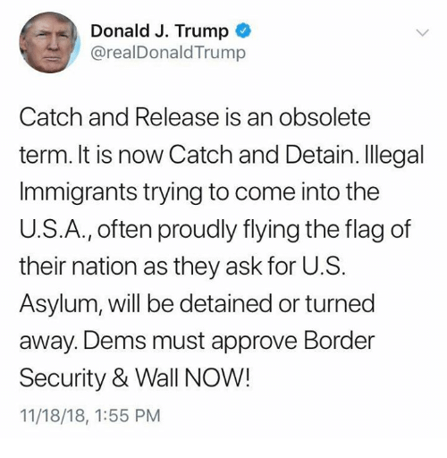 Illegal Immigrants: Donald J. Trump  @realDonaldTrump  Catch and Release is an obsolete  term. It is now Catch and Detain. Illegal  Immigrants trying to come into the  U.S.A., often proudly flying the flag of  their nation as they ask for U.S.  Asylum, will be detained or turned  away. Dems must approve Border  Security & Wall NOW!  11/18/18, 1:55 PM