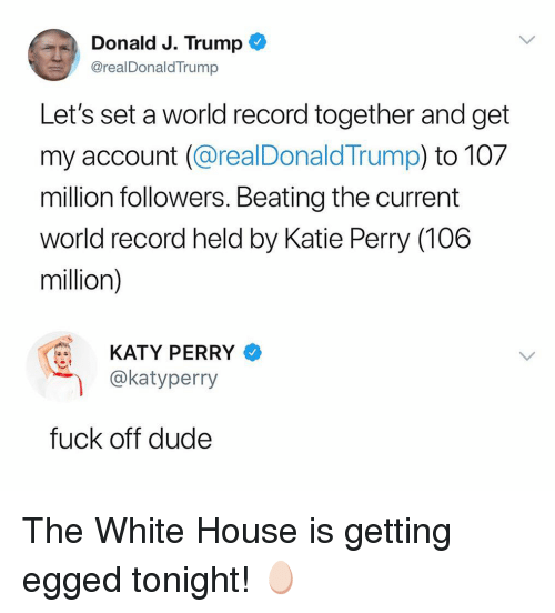 Katy Perry: Donald J. Trump  @realDonaldTrump  Let's set a world record together and get  my account (@realDonald Trump) to 107  million followers. Beating the current  world record held by Katie Perry (106  million)  KATY PERRY  @katyperry  fuck off dude The White House is getting egged tonight! 🥚