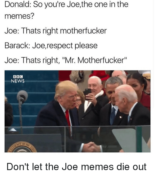 "Joe Meme: Donald: So you're Joe,the one in the  memes?  Joe: Thats right motherfucker  Barack: Joe, respect please  Joe: Thats right, ""Mr. Motherfucker""  BBC  NEWS Don't let the Joe memes die out"