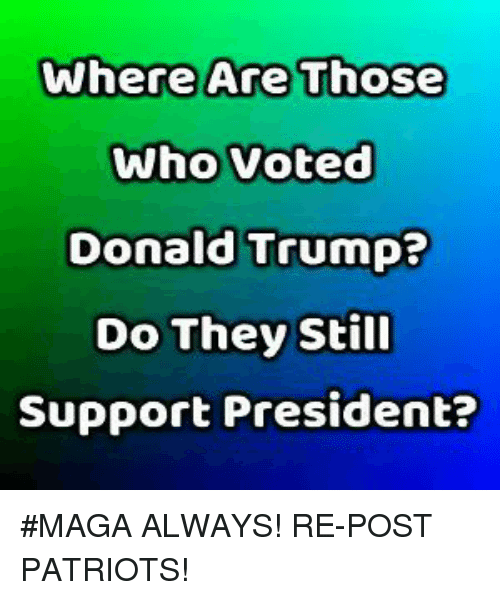 Donald Trump, Memes, and Patriotic: Donald Trump?  Do They Still  Support President? #MAGA ALWAYS! RE-POST PATRIOTS!