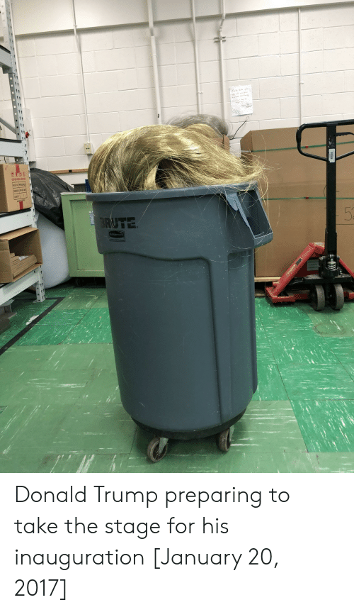 Inauguration: Donald Trump preparing to take the stage for his inauguration [January 20, 2017]