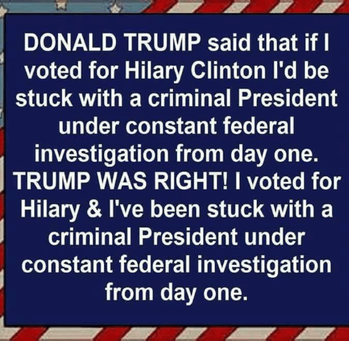 Donald Trump, Trump, and Been: DONALD TRUMP said that if l  voted for Hilary Clinton l'd be  stuck with a criminal President  under constant federal  investigation from day one.  TRUMP WAS RIGHT! I voted for  Hilary & I've been stuck with a  criminal President under  constant federal investigation  from day one.