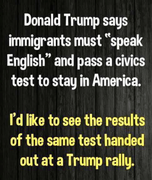 "America, Donald Trump, and Test: Donald Trump says  immigrants must ""speak  English"" and pass a civics  test to stay in America  I'd like to see the results  of the same test handed  out at a Trump rally"