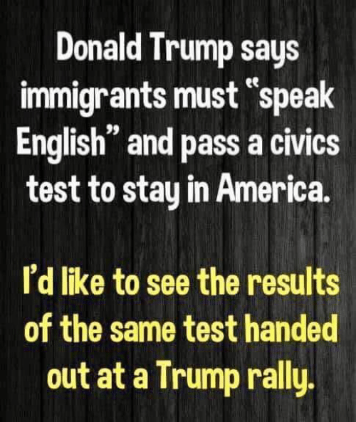 "America, Donald Trump, and Test: Donald Trump says  immigrants must ""speak  English"" and pass a civics  test to stay in America.  ее  n 99  I'd like to see the results  of the same test handed  out at a Trump rally"