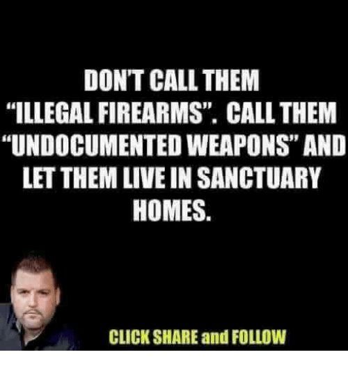 """Click, Memes, and Live: DON'T CALL THEM  """"ILLEGAL FIREARMS"""" CALL THEM  """"UNDOCUMENTED WEAPONS"""" AND  LET THEM LIVE IN SANCTUARY  HOMES.  CLICK SHARE and FOLLOW"""