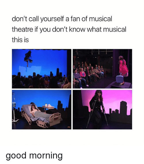 Good Morning, Good, and Girl Memes: don't call yourself a fan of musical  theatre if you don't know what musical  this is good morning