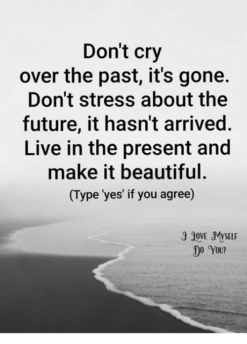 Beautiful, Future, and Memes: Don't cry  over the past, it's gone.  Don't stress about the  future, it hasn't arrived  Live in the present and  make it beautiful.  (Type 'yes' if you agree)  00 You?