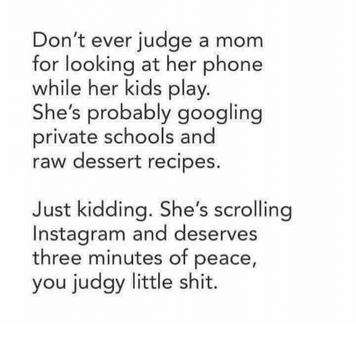 Instagram, Memes, and Phone: Don't ever judge a mom  for looking at her phone  while her kids play  She's probably googling  private schools and  raw dessert recipes  Just kidding. She's scrolling  Instagram and deserves  three minutes of peace,  you judgy little shit.
