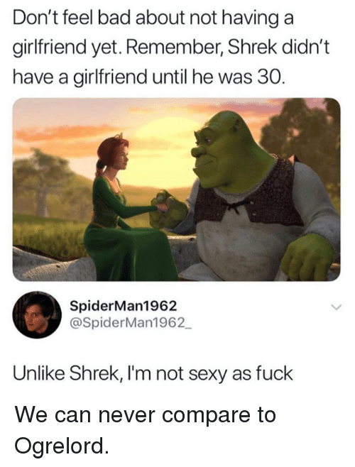 """Bad, Dank, and Sexy: Don't feel bad about not having a  girlfriend yet. Remember, Shrek didn't  have a girlfriend until he was 30.  """"b  SpiderMan1962  @SpiderMan1962  Unlike Shrek, I'm not sexy as fuck We can never compare to Ogrelord."""