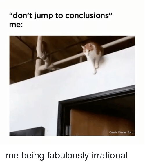 "Jump To Conclusions: ""don't jump to conclusions""  me:  Cassie Dexter Torti me being fabulously irrational"