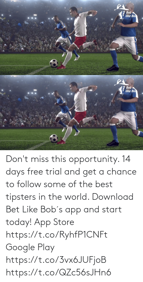 Google Play: Don't miss this opportunity. 14 days free trial and get a chance to follow some of the best tipsters in the world.  Download Bet Like Bob´s app and start today!   App Store https://t.co/RyhfP1CNFt   Google Play https://t.co/3vx6JUFjoB https://t.co/QZc56sJHn6