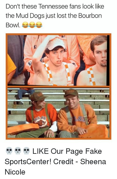 Dogs, Fake, and Nfl: Don't these Tennessee fans look like  the Mud Dogs just lost the Bourbon  Bowl 💀💀💀  LIKE Our Page Fake SportsCenter!  Credit - Sheena Nicole
